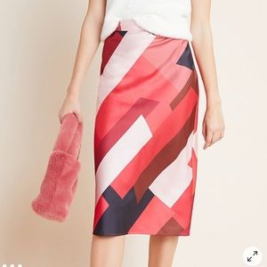 Anthropologie Hutch Red Motif Midi Skirt Size 6